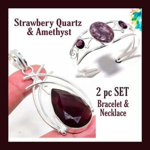 Handmade Jewelry - 2 pc Hypnotizing Amethyst & strawberry quartz SET